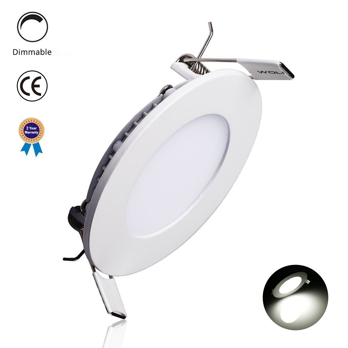 LED Panel Light, 6W 4-inch Dimmable Round Ultra-Thin Downlight with Driver, 40W Incandescent Equivalent, 480lm, Daylight White 5000K, LED Recessed Ceiling Lights for Home, Office, Commercial Lighting
