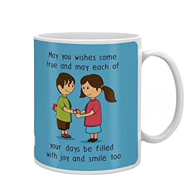 Indi ts Blessing From Sis Quote Printed Gift Set Mug 330 Ml Crystal Rakhi Roli & Greeting Card For Men Boys