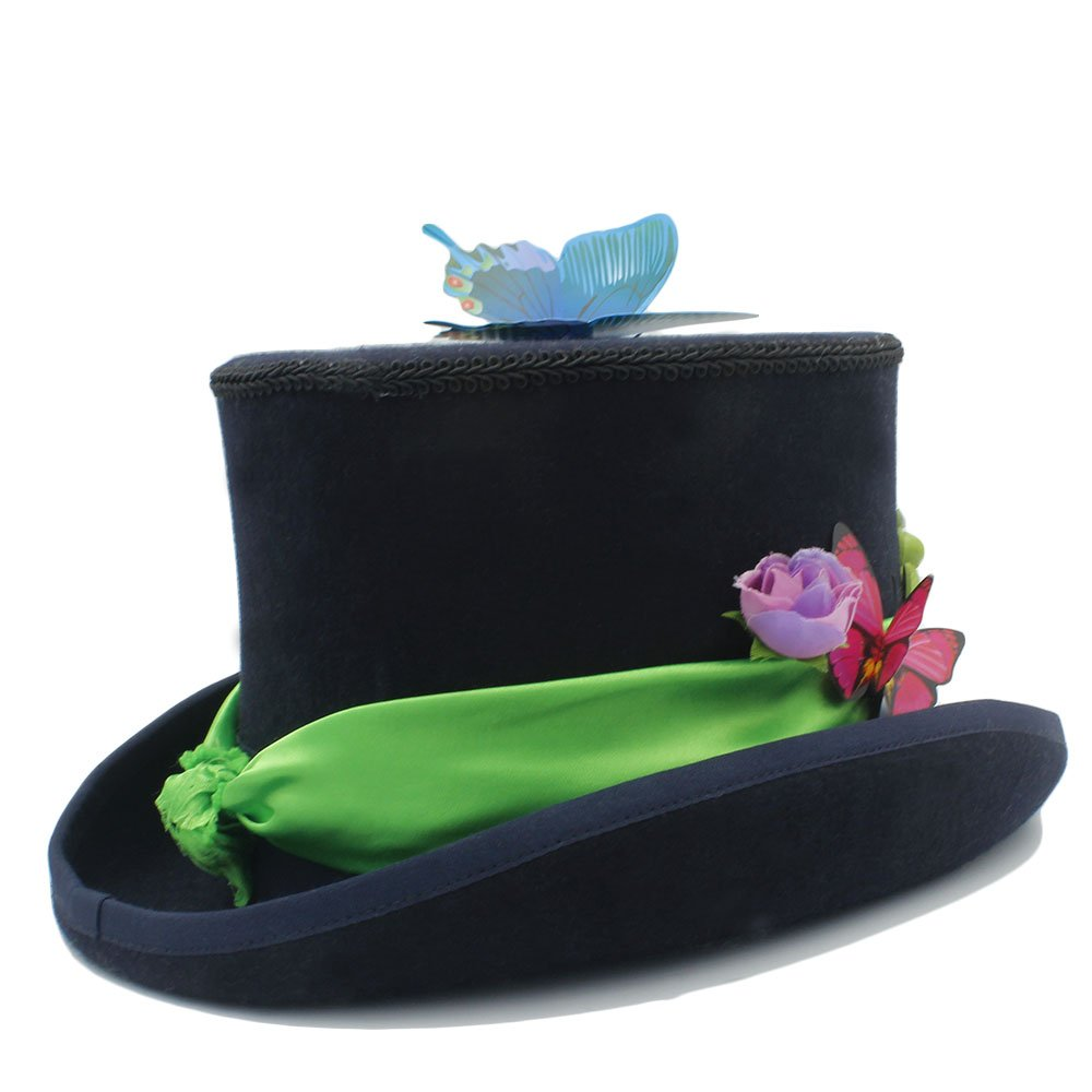 Amazon.com: ZLQ DIY Steampunk Top Hat with Forest Flowers Party Hat for Women Tea Party Hat Top Hat: Clothing