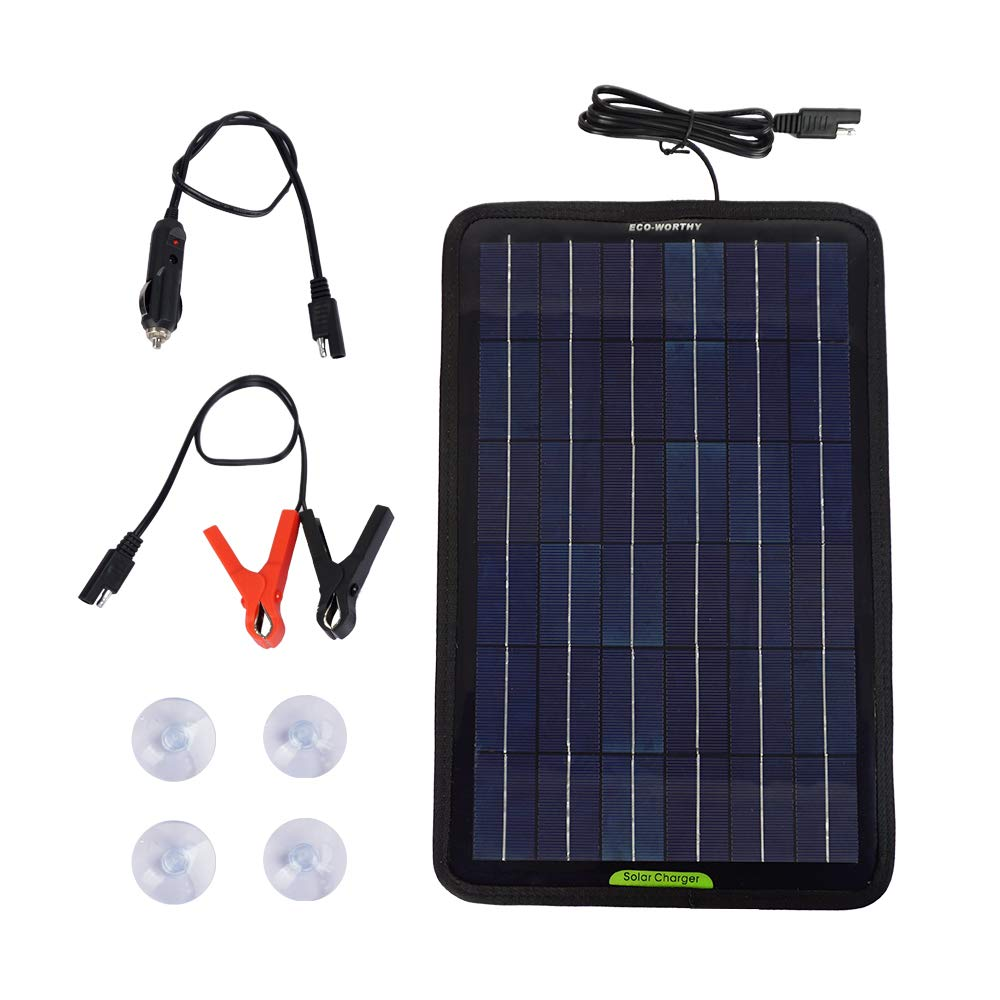 ECO-WORTHY 12 Volts 7.5 Watts Portable Power Solar Panel with Battery Clips & Suction Cups for Maintain Motorcycle Tractor Boat RV Battery