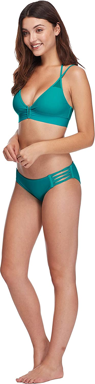 Body Glove Womens Smoothies Vivienne Solid V-Wire Fixed Triangle Bikini Top Swimsuit