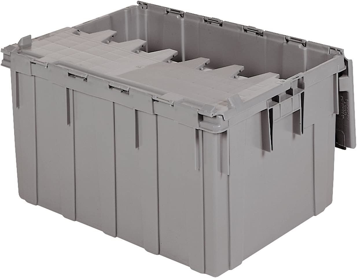 Akro-Mils 39280 28-Inch L x 21-Inch W x 15.5-Inch H 28-Gallon Attached Lid Container Plastic Storage and Distribution Tote with Hinged Lid, Grey 61HqAOptP7LSL1280_