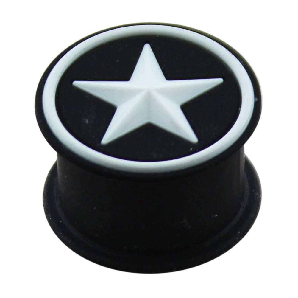 24MM Embossed White Star on Black Silicone Ear Plug Body Jewelry