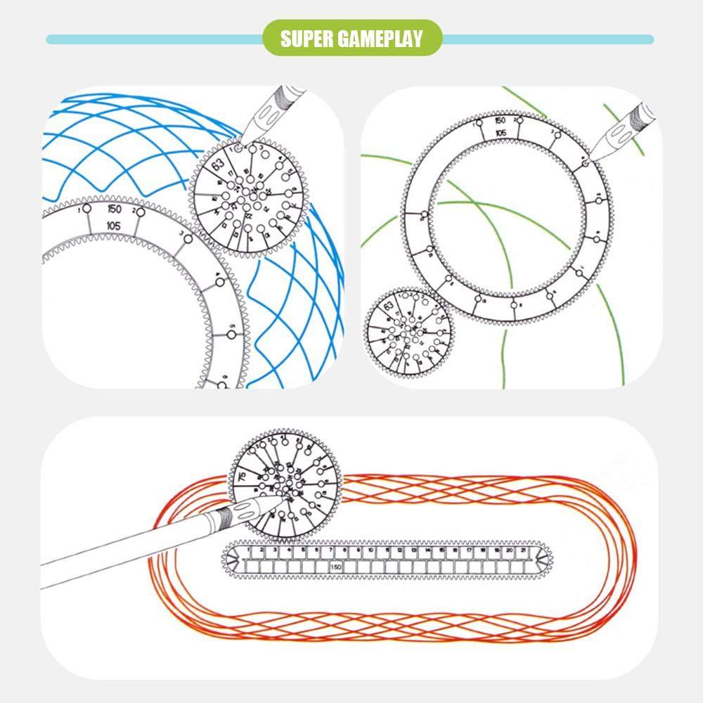 Pawaca Draw Ruler Conjunto Cl/ásico Plantilla de Dibujo DIY Regla Dise/ño de Espiral Entrelazado Gears Rueda Entrelazadas con Bol/ígrafos Creativa Arte M/ágico Pintura Regla Juguete para Ni/ños