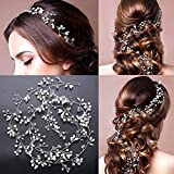 39.37in Handmade Luxury Crystal pearl Long Bridal Headband Headpiece Rhinestones Hairbands Wedding Hair Accessories Bride Head Chain (white)