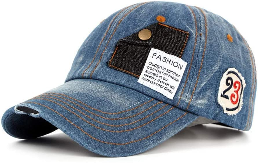 Color : Denim Blue, Size : 56-60CM ZHANGCHANG Skin-Friendly Fashion Washed Cotton Baseball Cap Vintage Baseball Cap Mens Motorcycle Edging Old Hat