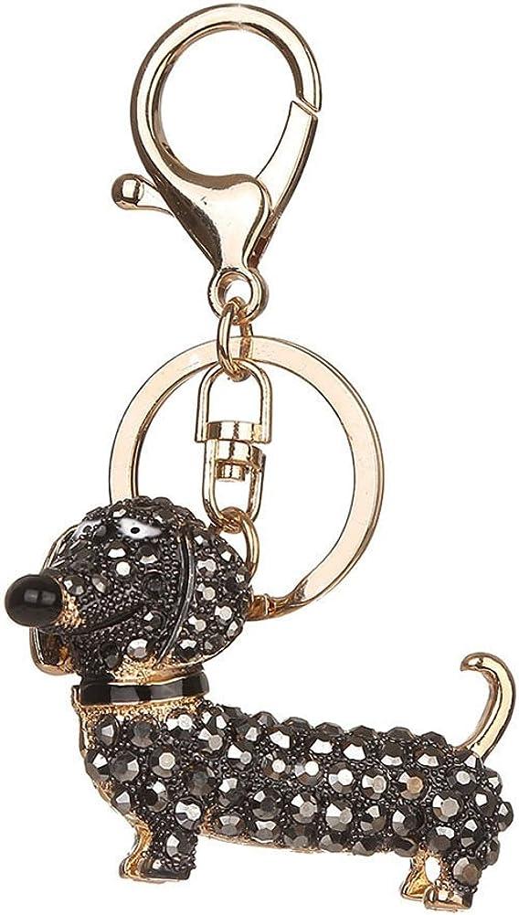 SWIDUUK Cute Alloy Rhinestone Dachshund Dog Key Chain Bag Car Pendant Decor Keyring