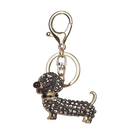 potato001 Girl Dachshund Dog Alloy Rhinestone Keychain Women Bag Car Keyring  Pendant Decor (Black) 86d417e34e