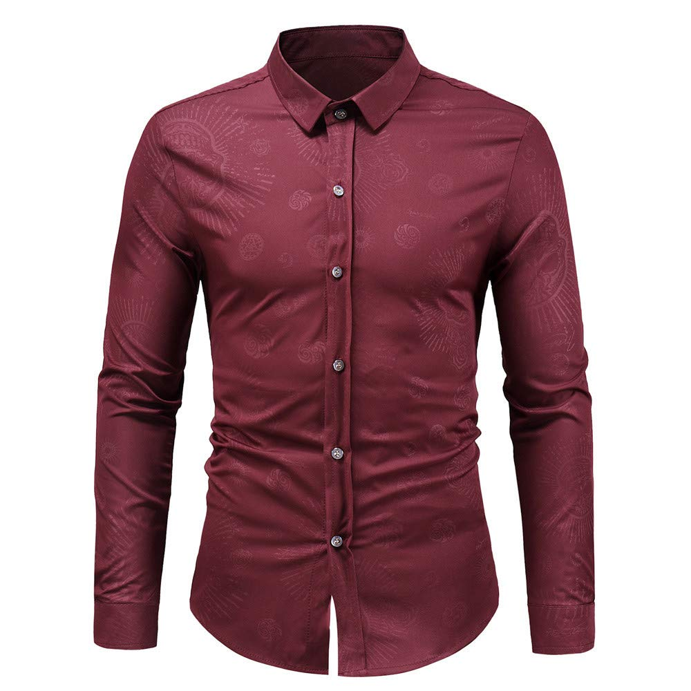 Mens Dress Shirts,Long Sleeve Button Print Shirt Slim Fit Blouse Top Zulmaliu