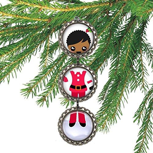 African American Elf Girl Bottlecap Christmas Ornament