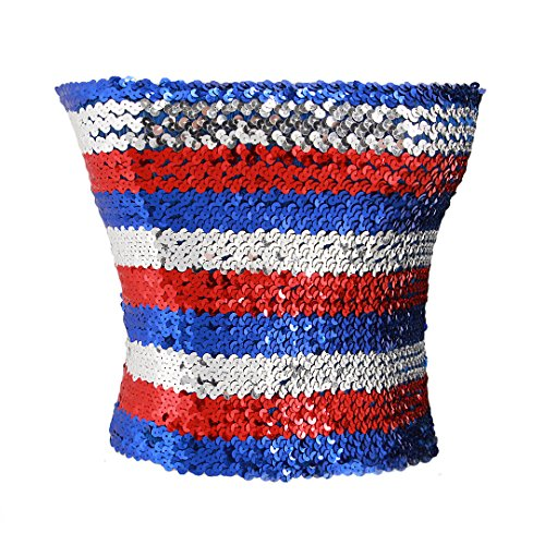 (Novia's Choice Women Girls Sequin Off Shoulder Tube Top Blouse Stretchy Chest Wrap Party Crop Top Vest(Red&White&Blue))