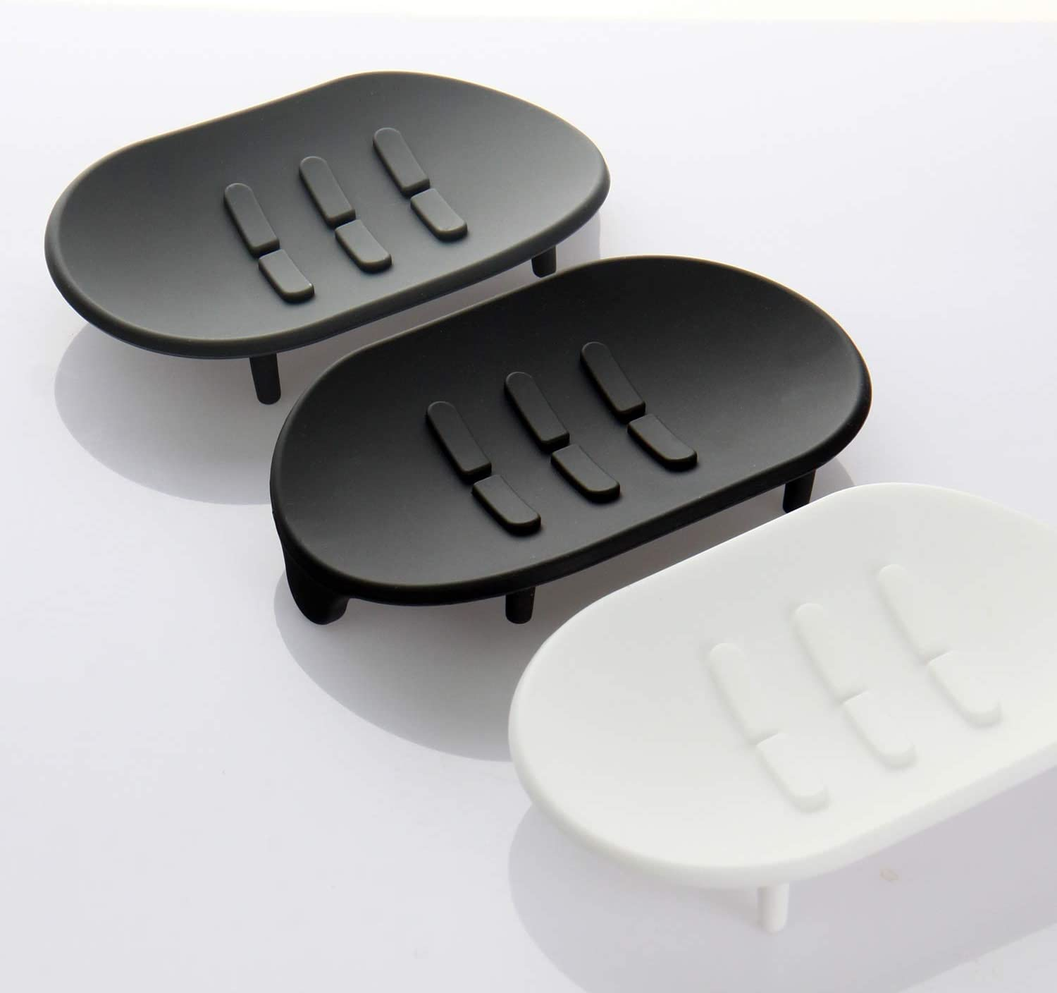 Eco Friendly Toothbrush Holder Compact Set Lazy K Silicone Bathroom Toothbrush//Razor Stand Black- 3 Stands