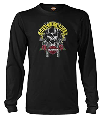 0d97e3ef8c7 Harley-Davidson Men s Guns N  Roses Rage Top Hat Skull Long Sleeve Shirt (