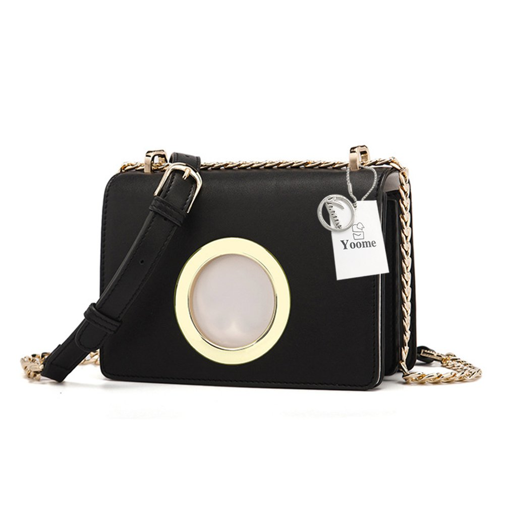 Yoome Pure Color Leather Crossbody Shoulder Bag Fashion Chain Bag Flap Bag with Metal Ring - Black