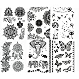 We just adore this black henna-inspired collection. Designed to tap into your fun personality or natural, mystical free spirit, these gorgeous temporary tattoos look real. You will be noticed as soon as you put them on. Wear them day or night, and ch...