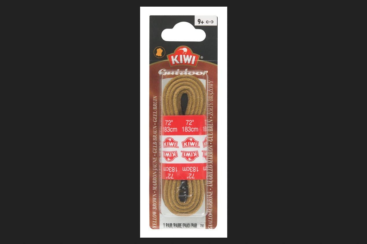 "72/"" KIWI 183 cm Outdoor Leather Shoe Laces Dark Brown"