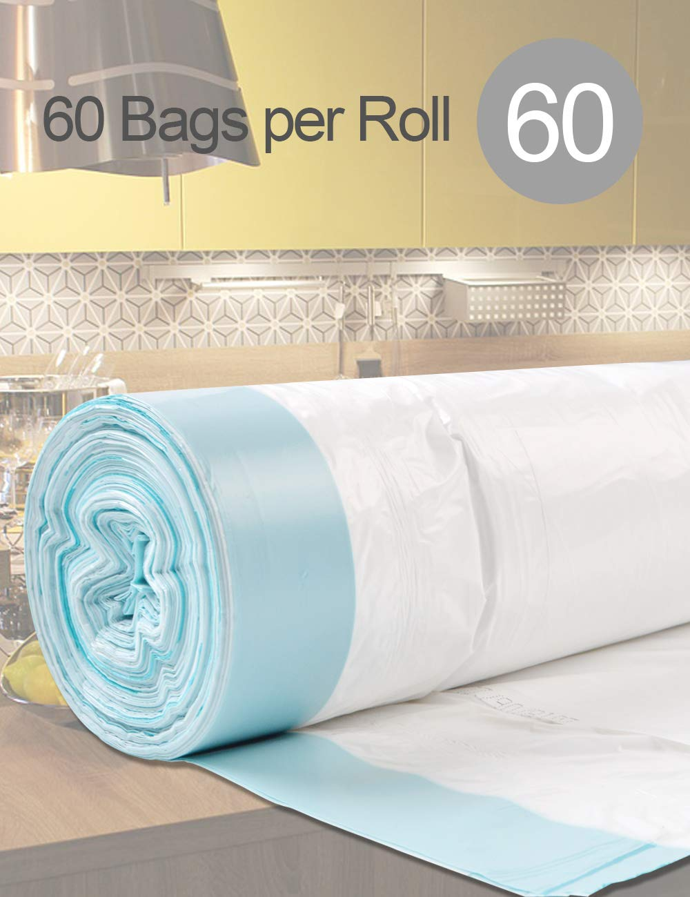 Eco-Friendly Recyclable 30.3L HOYT Garbage Bags Rubbish Bags with Portable Drawstring Trash Bags 60 Counts for Kitchen Livingroom Bedroom Bathroom Office 8GAL