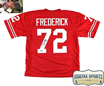 on sale 48932 2b595 Travis Frederick Autographed/Signed Wisconsin Custom Red ...