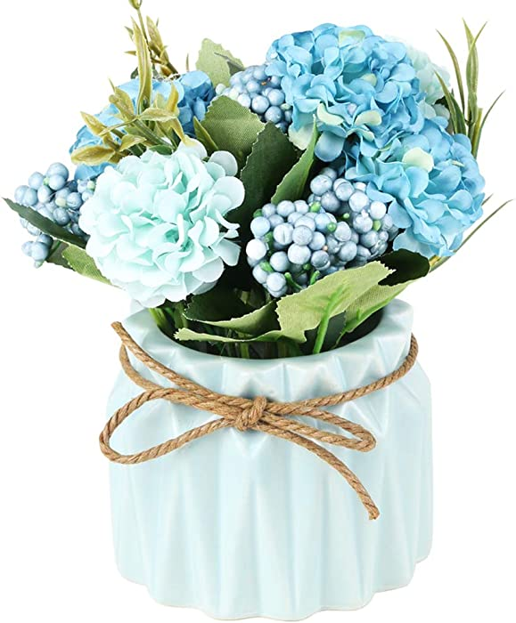 SUPNIU Artificial Hydrangea Bouquet with Small Ceramic Vase Fake Silk Variety Flower Balls Flowers Decoration for Table Home Party Office Wedding (Blue)