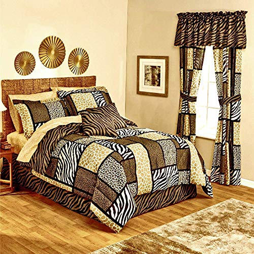 Safari Zanzibar Zebra Stripe Giraffe Leopard Animal Print Patchwork Black Brown Tan Comforter Set Ensemble + Two TOSS Pillows! (10pc Queen Size)