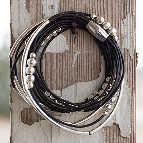 Black Natural Leather Wrap Bracelet Gift for Her Magnetic Clasp - Size 7