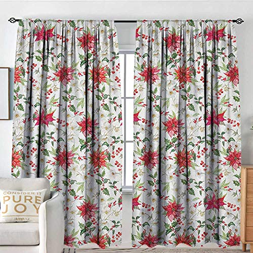 Petpany Curtains for Bedroom Watercolor,Fresh Poinsettia Flowers and Rowan Berry Branches Christmas Garden, Vermilion Green Magenta,Darkening and Thermal Insulating Draperies 84