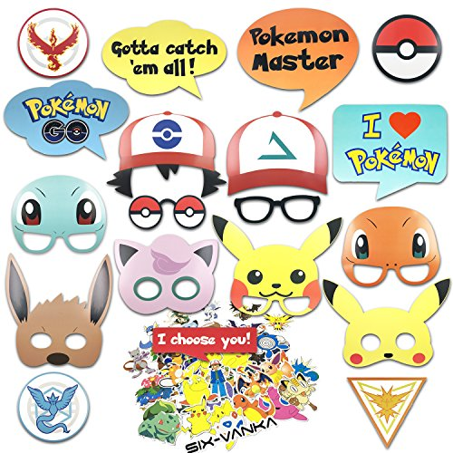 SIX VANKA Party Supplies - 19pcs Photobooth Props and 50pcs Pikachu Stickers for Special Birthday Party Themes DIY Kit -