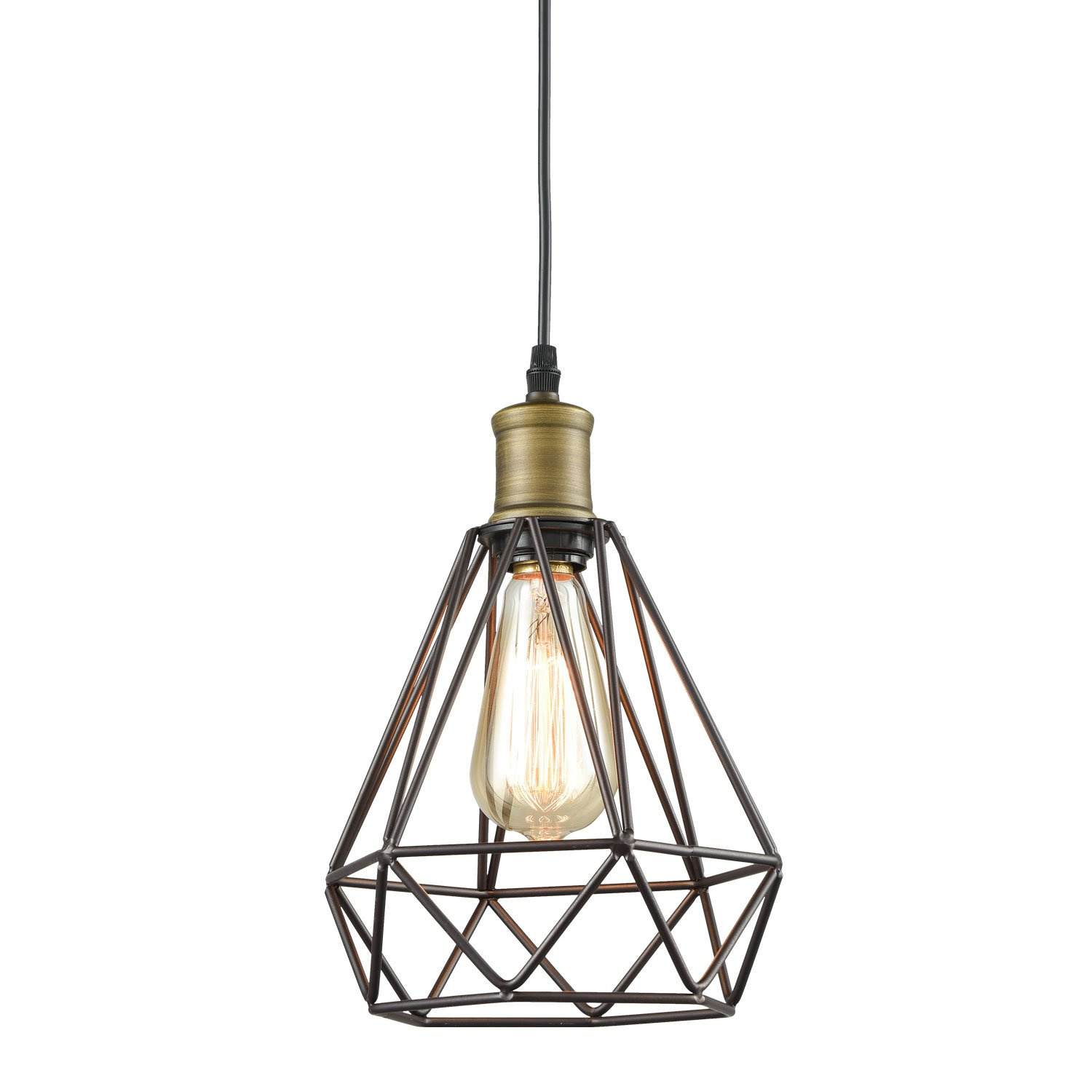 Yobo lighting vintage oil rubbed bronze polygon wire pendant light yobo lighting vintage oil rubbed bronze polygon wire pendant light art deco amazon aloadofball Gallery
