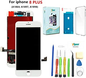 Screen Replacement for iPhone 8 Plus (5.5 inch) - 3D Touch LCD Complete Repair Kits -LCD Touch Digitizer Display Glass Replacement -Free Cover,Tempered Glass, Tools, Instruction (White)