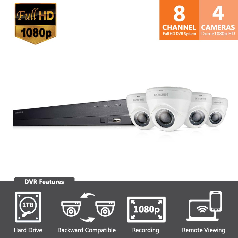 SDH-B74043D - Samsung Wisenet 8 Channel Full HD Video Security System with 4 Dome Camera