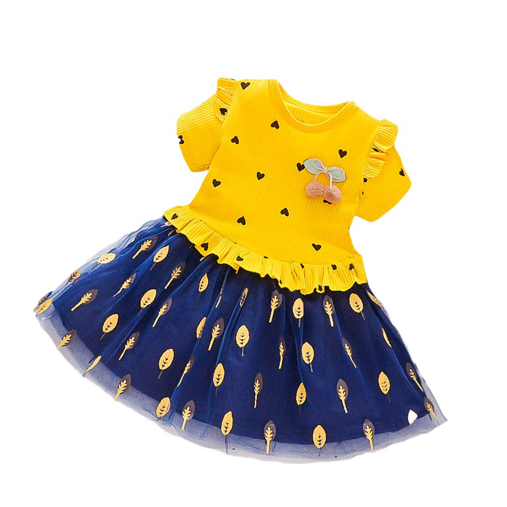 HJKGSVdv Summer Toddler Baby Kids Girl Short Sleeve Ruffled Heart Leaf Mesh Dress Clothes Yellow M