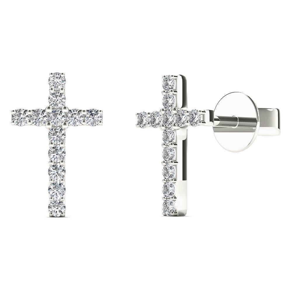 JewelAngel Women's 10K White Gold 1/10 Carat TDW Diamond Cross Stud Earrings (H-I, I1-I2)