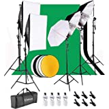 Kshioe 2M x 3M/6.6ft x 9.8ft Background Support System and 900W 6400K Umbrellas Softbox Continuous Lighting Kit for…