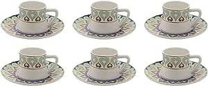 دانية طقم قهوة تركي مصنوع من البورسلاين , 6 قطع - 3759-6S-814