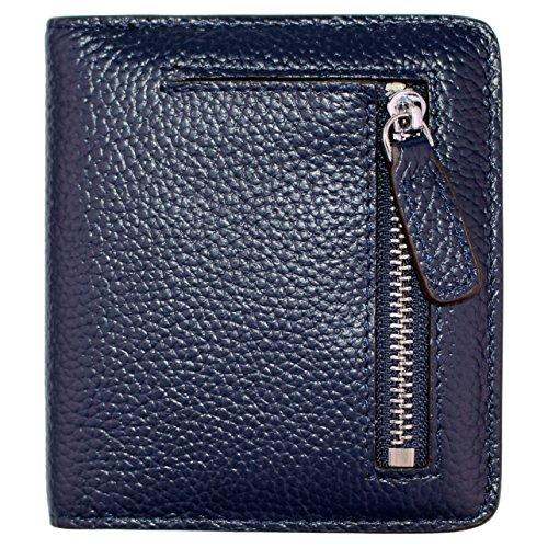 Women's RFID Blocking Small Genuine Leather Wallet Ladies Mini Card Case Purse (Royal Blue)