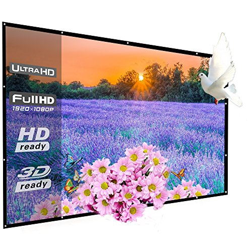 100 Inch Portable Projector Screen Outdoor, WRLSUN 16:9 Folding Home Theater Movie Screen - for Office/Exhibition/Convention/Party