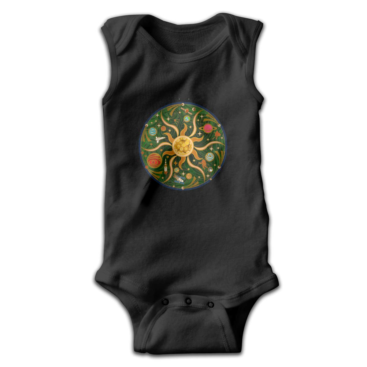 Dunpaiaa Map of Solar Newborn Crawling Suit Sleeveless Romper Bodysuit Onesies Jumpsuit Black