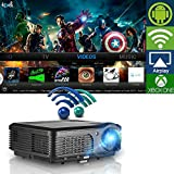 Wireless WiFi Projector, LCD LED Video Projectors 3200 Lumen 200 High Definition Home Cinema Theater 1080p Full HD USB, Multimedia Projector for iPad Smartphone Laptop Blue Ray DVD Player PS4