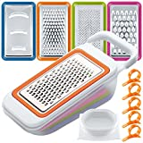 Fruit Vegetable Slicers Set with Orange Peelers, FineGood 4 Packs Multi-Functional Mandoline Spiralizer Dicer Cutter Chopper Grater with Container for Kitchen, with 5 Citrus Skin Removers