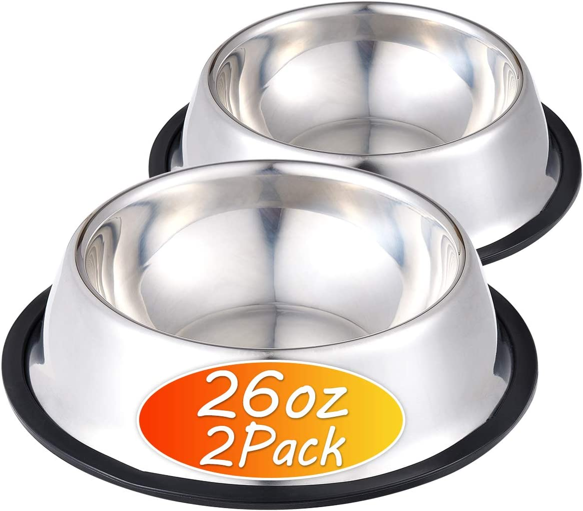 INONE Stainless Steel Dog Bowl with Rubber Base for Food and Water, Pet Food Container, Perfect Choice for Small/Medium/Large Dogs or Cats