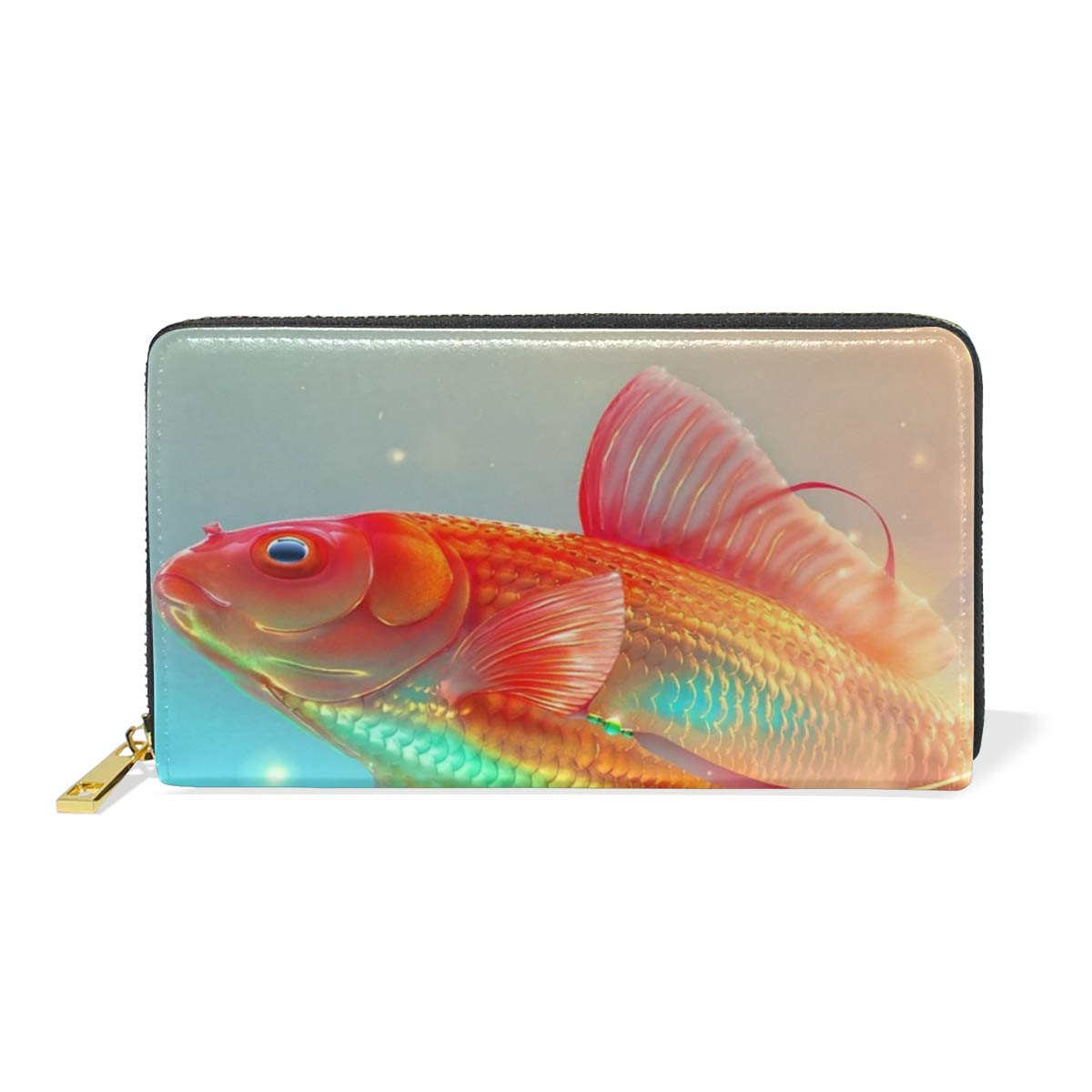 Show color 2 Women Genuine Leather Wallet Fish Digital Zipper Purse Girl Phone Clutch