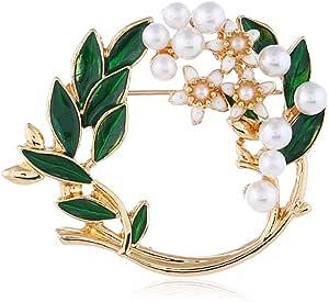 Pearl Flower Wreath Brooches for Women Men Girls Gold Tone Fashion Vintage Green Olive Leaf Hollow Garland Brooch Pins Bow Tie Necktie Dress Accessories Jewelry Birthday
