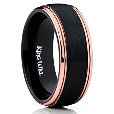 king will 8mm black mens tungsten carbide ring matte brushed finish wedding band 18k rose gold - Black Mens Wedding Rings