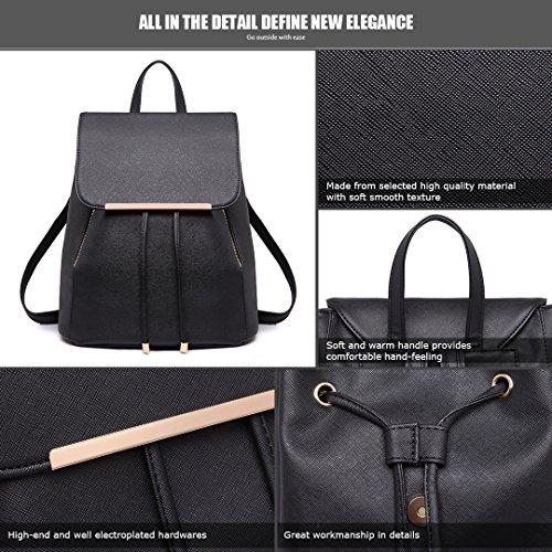 Backpack Ladies Leather Lulu 1669 Bag Miss Black Fashion Shoulder Rucksack PU RUXqp