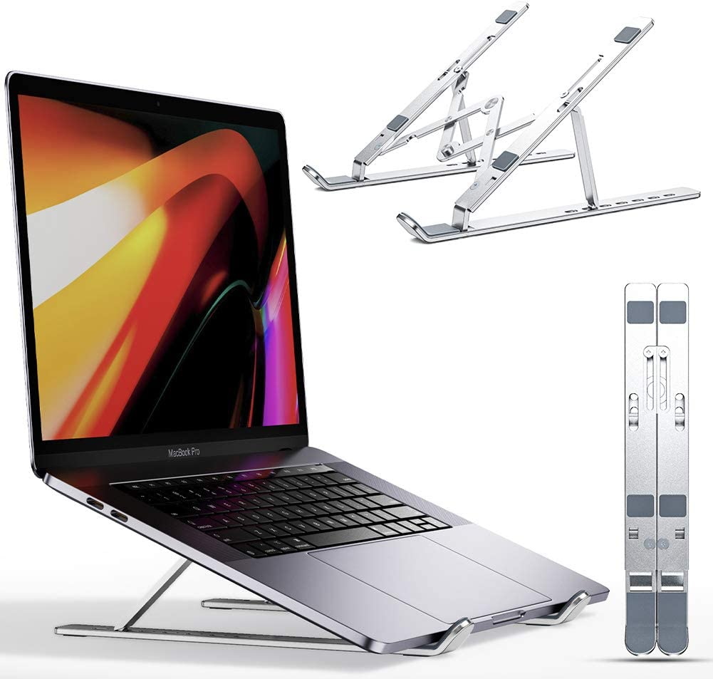 "Carkoci Laptop Stand,Aluminum 7-Angles Adjustable Ventilated Cooling Notebook Stand Mount Compatible with MacBook Air Pro, Lenovo, Dell, More 10-17.3""Laptops - Silver"