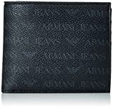 Armani Jeans Men's Small All Over Logo Pu Bi Fold Wallet with Coin Pocket, Black, One Size