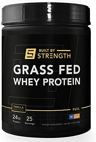 BuiltByStrength Grass Fed Whey Protein – 100 Percent All Natural Vanilla Whey Isolate Protein Powder – Tastes Great and Dissolves Easily in Coffee – Non GMO and Gluten Free 30 Servings