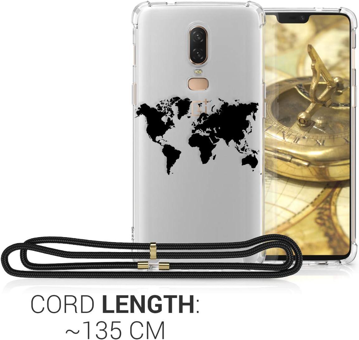 Carcasa de TPU con Colgante Mapa del Mundo Negro//Transparente kwmobile Funda con Cuerda Compatible con OnePlus 6
