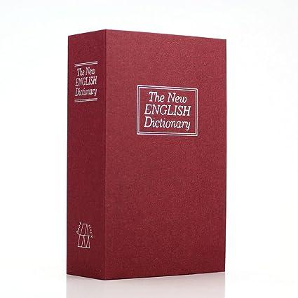 Diccionario que sirve como escondite secreto, caja fuerte, monedero, joyero (personalizable), plástico, Rojo, Small