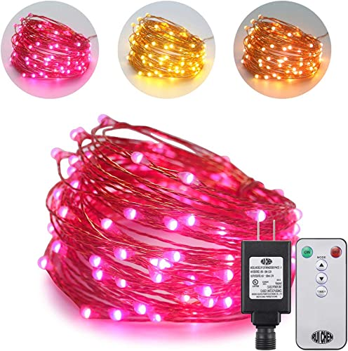 Ruichen Dual Color LED String Lights, 33FT 100 LED Plug in Dimmable Copper Wire Decorative Fairy Lights with UL Adapter Remote Timer 8 Modes for Christmas Wedding Warm White, Pink